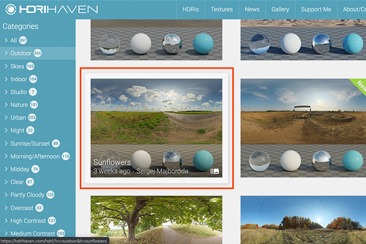 360°背景画像を表示させる方法(HDRI)の画像2